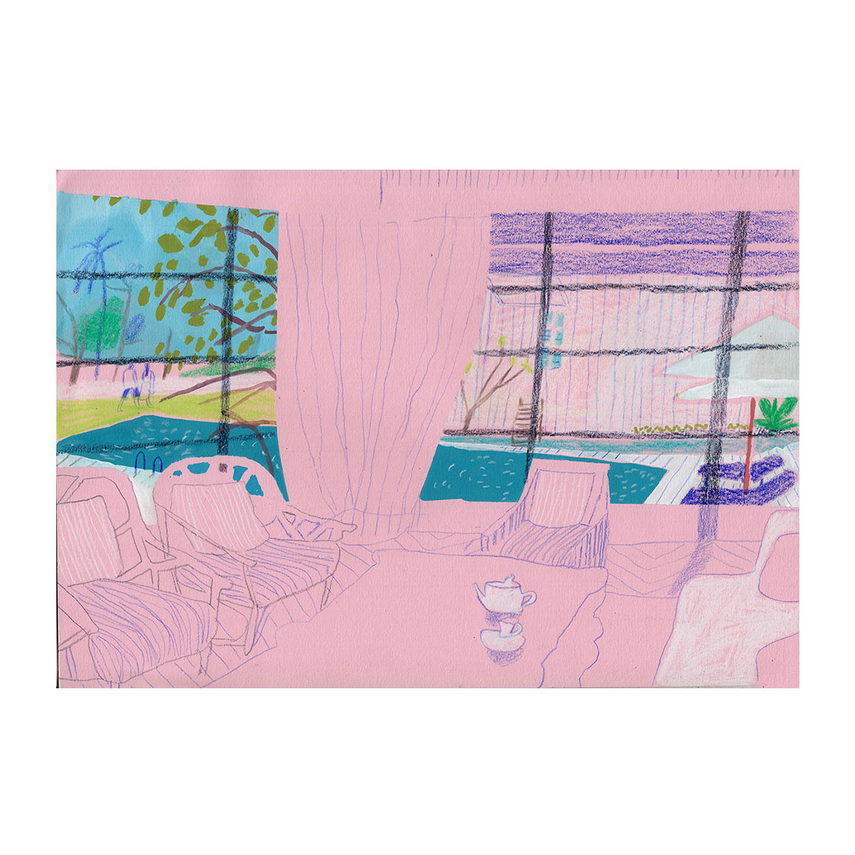 Pink Interior - Drawing by Charlotte Ager for Baccala